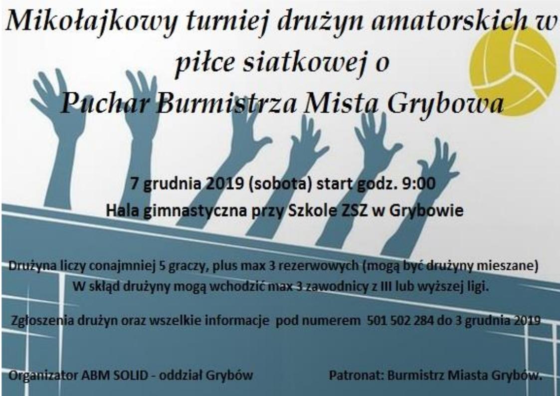 Mikołajkowy turniej drużyn amatorskich w piłce siatkowej o Puchar Burmistrza Miasta Grybowa